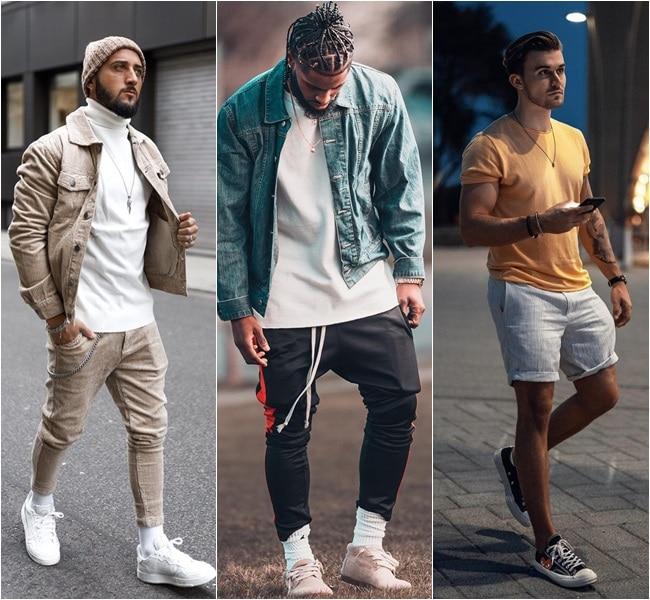 Homens usando muito volume no bolso