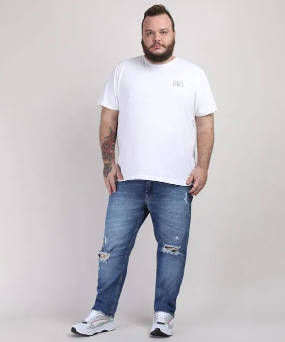 calça jeans destroyed plus size masculina
