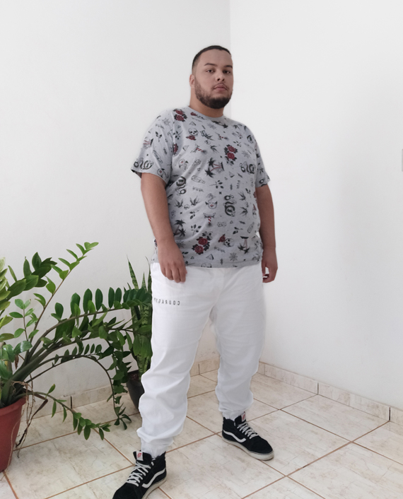 calça branca moletom plus size masculina