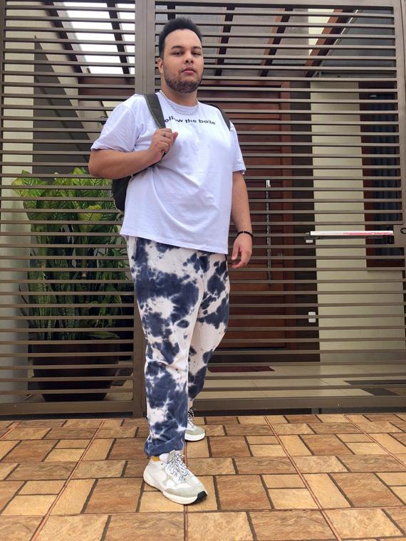 calça masculina plus size tie dye