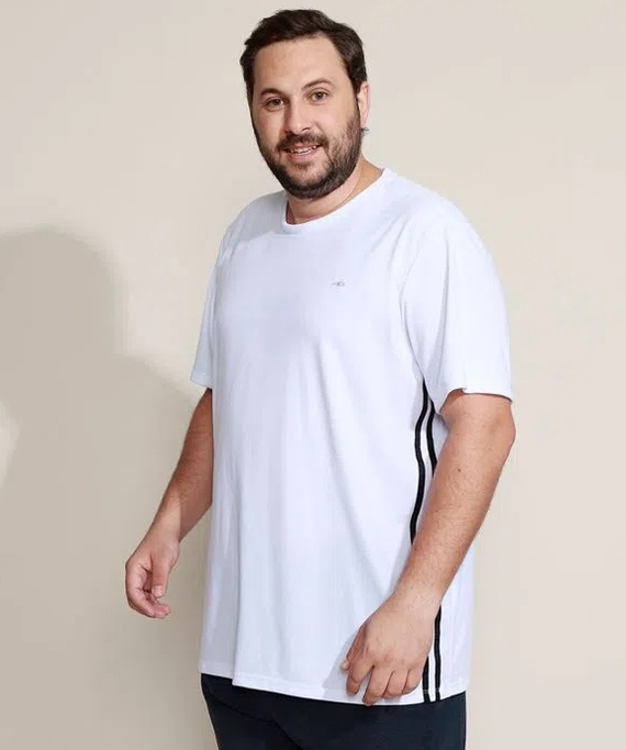 camisa masculina plus size branca esporte