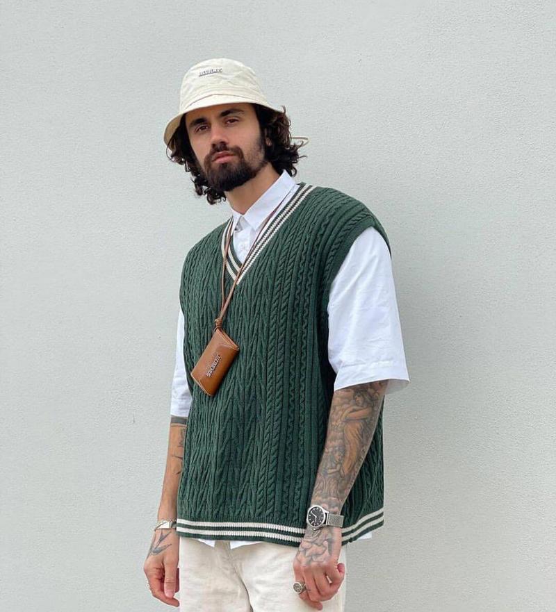 colete de tricot masculino